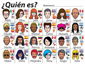 ¿Quién es? Spanish Conversation Game gusta, verbos, comida, pelo, ser, tener