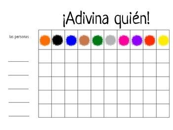¿Quién es? Spanish Speaking Game ~ los colores - colors