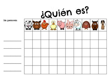 ¿Quién es? Spanish - los animales de la granja- farm animals - speaking game