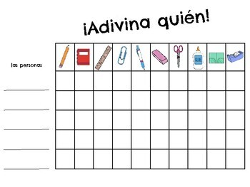¿Quién es?Spanish-los materiales escolares- útiles-speaking game-school supplies