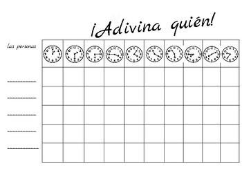 ¿Quién es? Spanish speaking game - ¿Qué hora es? Telling time