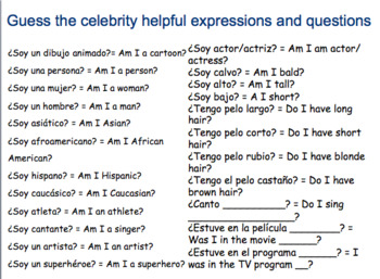 ¿Quién soy? Who am I game. Celebrities and adjectives in Spanish.