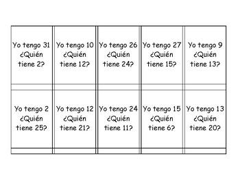 ¿Quién tiene?: Basic Spanish Conversation Activity to Practice Numbers