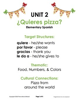 ¿Quieres pizza? Unit 2 for Elementary Spanish