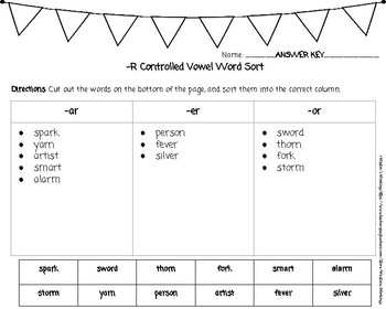 -R Controlled Vowel Word Sort