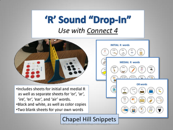 "'R' Sound ""Drop-In"" Articulation Game (Use with Connect 4)"