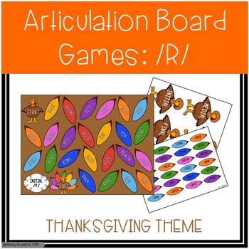 /R/ and /R/-Blends Articulation Board Games - Thanksgiving Theme