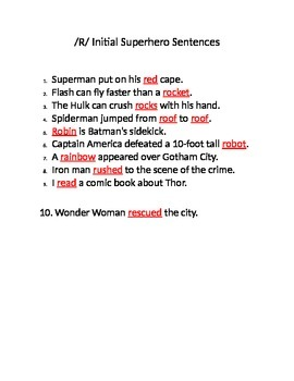 /R/ initial superhero sentences