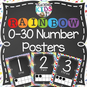 {RAINBOW} 0-30 Number Posters with tens frames