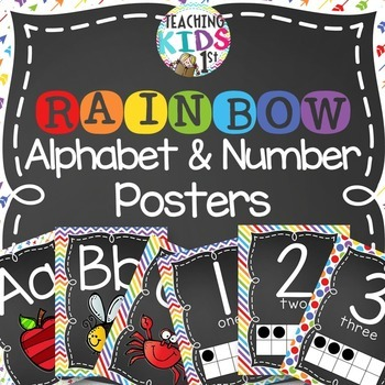 {RAINBOW} Alphabet and Number Posters Bundle