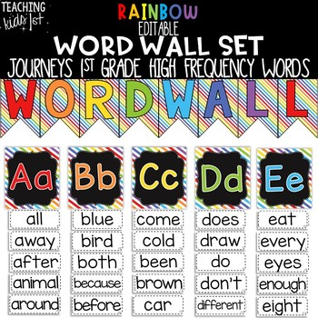 {RAINBOW} Journeys 1st Grade High Frequency Word Wall Set