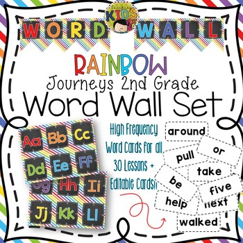 {RAINBOW} Journeys 2nd Grade High Frequency Word Wall Set