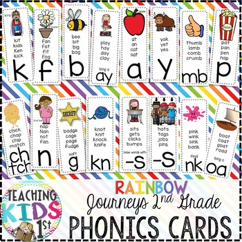 {RAINBOW} Journeys 2nd Grade Phonics Cards