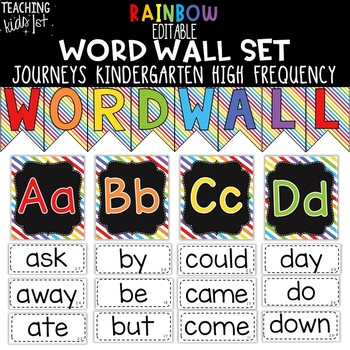 {RAINBOW} Journeys Kindergarten High Frequency Word Wall Set