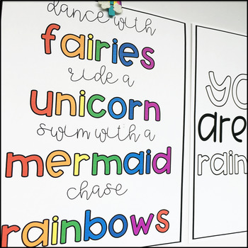 {RAINBOW THEMED} Inspirational Classroom Poster Set