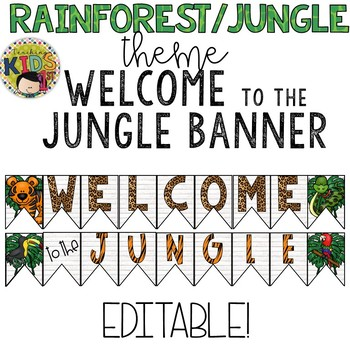 "{RAINFOREST JUNGLE THEME} ""WELCOME TO THE JUNGLE"" Editable Banner"