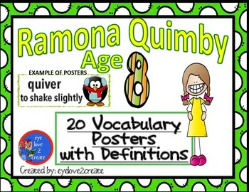 {RAMONA QUIMBY AGE 8} {VOCABULARY CARD POSTERS}
