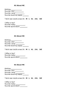 'RE About ME' Form for Resident Educator's to give mentor