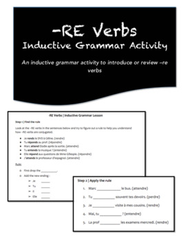 -RE Verbs | Inductive Grammar Activity