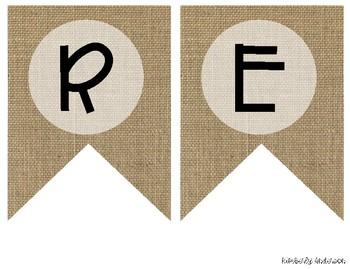 """READING"" Farmhouse Burlap Focus Wall Pennant / Banner"