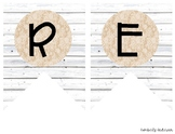 """""""READING"""" White Wood / Shiplap and Burlap Lace: Focus Wall"""
