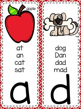 {RED AND WHITE} Alphabet & Phonics Cards