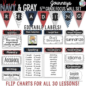 {RED, NAVY, GRAY, NAUTICAL} Journeys 5th Grade Focus Wall Set