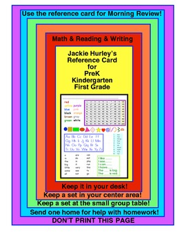 --REFERENCE CARD!!!-- ABC's - 100's chart - Shapes - Vocabulary