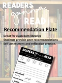 Classroom Library Book Recommendation Plates