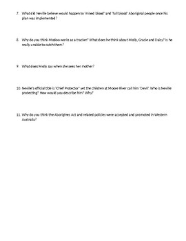 """""""Rabbit Proof Fence"""" Critical Thinking Questions"""