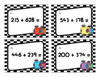 """""""Race to the Sum"""" Three-Digit Addition With & Without Regrouping"""