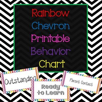 *Rainbow Chevron Printable Behavior Chart*