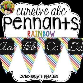 {Rainbow} Cursive Alphabet Pennant Banner