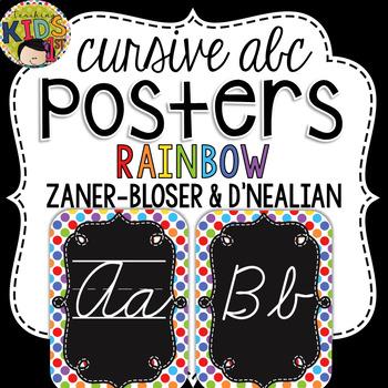 {Rainbow} Cursive Alphabet Posters