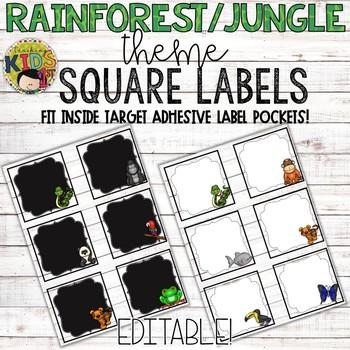 {Rainforest Jungle Theme} Editable Square Labels