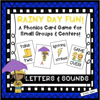"""""""Rainy Day Fun""""~A Rain-Themed LETTER/SOUND Phonics Game for Spring or Rainy Days"""