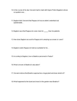 """Rappaccini's Daughter"" Quiz"