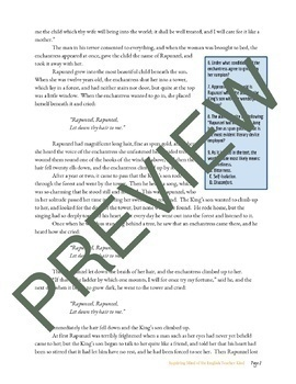 """Rapunzel,"" a Grimms' Fairy Tale, Close Reading Questions & Text"