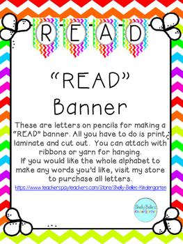 "Rainbow Chevron ""Read"" Banner Freebie"