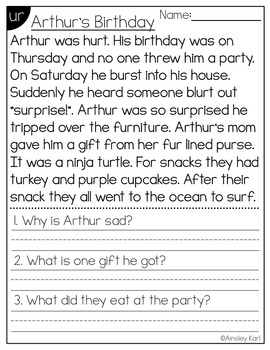 Phonics Reading Passages for Fluency and Comprehension - R Controlled Vowels