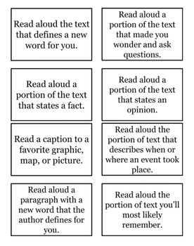 """Read aloud the text that..."" Cards"