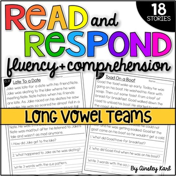 Phonics Reading Passages for Fluency and Comprehension - Vowel Teams