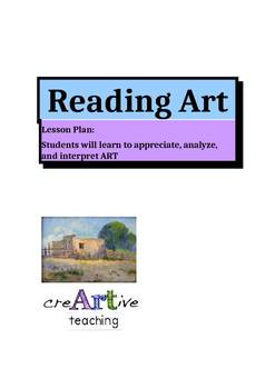 """Reading Art"". Lesson Plan, Activities, Printable Worksheet."