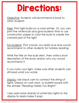 """Reading Makes You Bright!"" Writing Activity and Display"