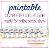 """""""Ready for Online School"""" First Day of School Sign BUNDLE"""