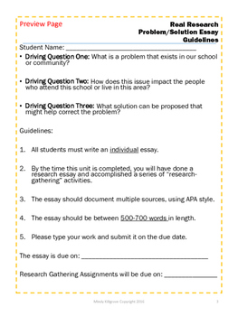 """""""Real Research"""": Writing the Problem- Solution Essay"""