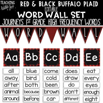 Red Black Buffalo Plaid Journeys 1st Grade High Frequency Word Wall Set