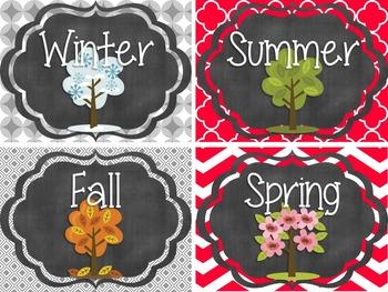 {Red, Black, Gray, White} Calendar Set