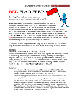 """Red Flag Fred""  Student Engagement Strategy #8"