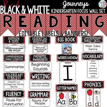 {Red, Black & White} Journeys Kindergarten Focus Wall Set